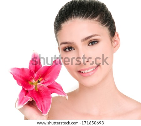 Beautiful woman with flower. Profile portrait of healthy skin of young female face