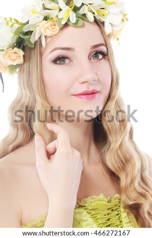 beautiful woman with flower wreath on her head