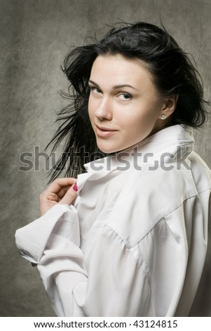 beautiful woman with fluttering long hair. - stock photo
