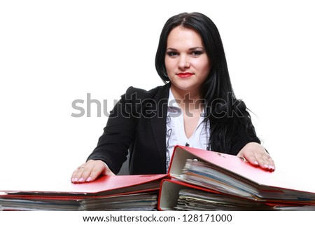 beautiful woman with folders isoalted on white - stock photo