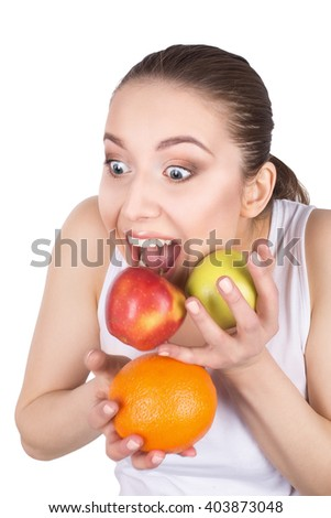 Beautiful woman with fruits isolated on white
