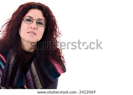 Beautiful woman with glasses. - stock photo