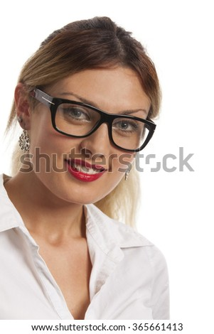 beautiful woman with glasses