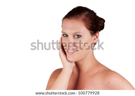 beautiful woman with hand against her head isolated