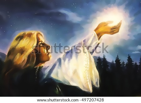 beautiful woman with hands holding light in nocturnal landscape, computer graphic from painting.