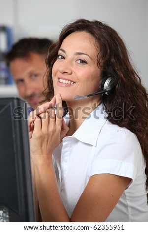 Beautiful woman with headset on