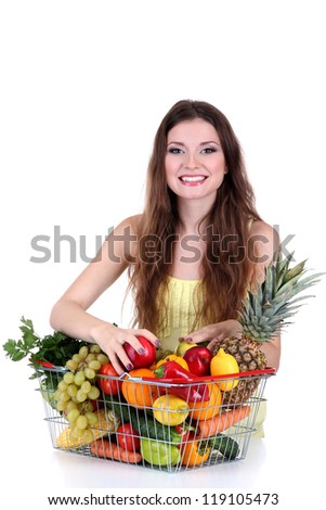 Beautiful woman with healthy food in metal basket isolated on white
