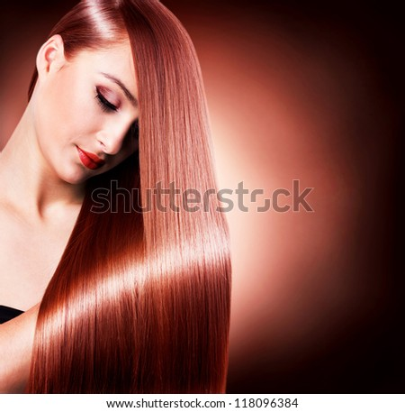 beautiful woman with healthy long hair - stock photo