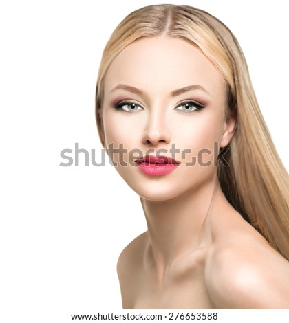 Beautiful woman with long blond straight hair. Portrait of fashion blonde model girl with bright makeup. Isolated on white background. Beauty female face close up with perfect make up - stock photo