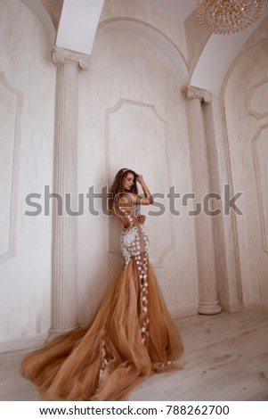 Beautiful woman with long dress