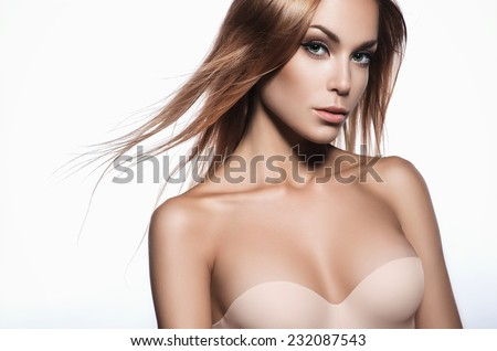 Beautiful woman with long hair and perfect skin
