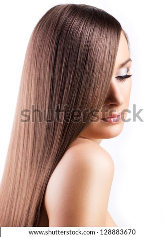 beautiful woman with long hair isolated on white background - stock photo