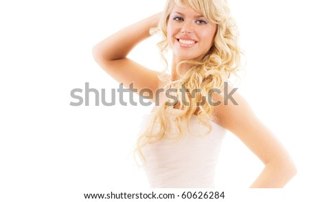 Beautiful woman with long hair wearing luxurious wedding dress, isolated on white background.