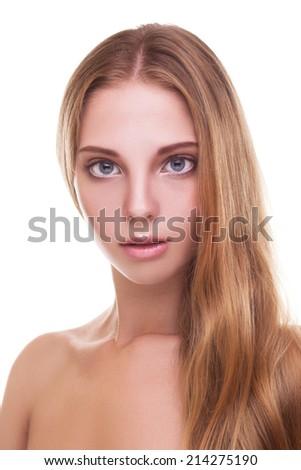 Beautiful woman with long healthy blonde hair. Treatment, healthcare. Isolated over white background. Fashion and beauty