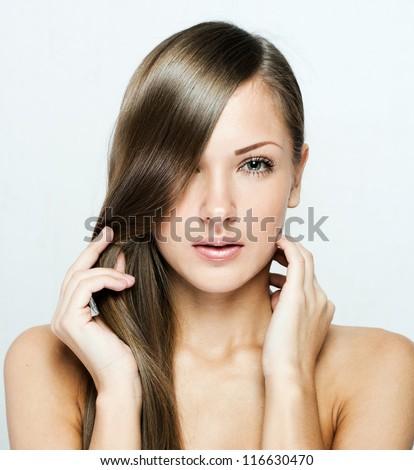beautiful woman with long natural shiny hair , brown hair - stock photo