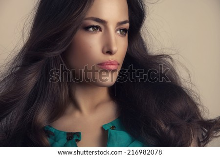 beautiful woman with long stylish hair and smooth makeup, studio shot - stock photo
