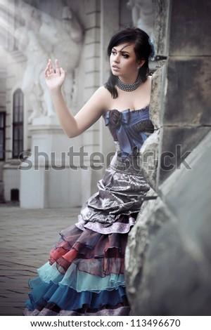 Beautiful woman with magic light - stock photo
