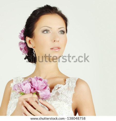 Beautiful woman with make-up and evening hairstyle, beauty fashion portrait - stock photo