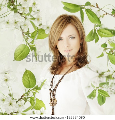 Beautiful woman with makeup, spring fashion portrait - stock photo
