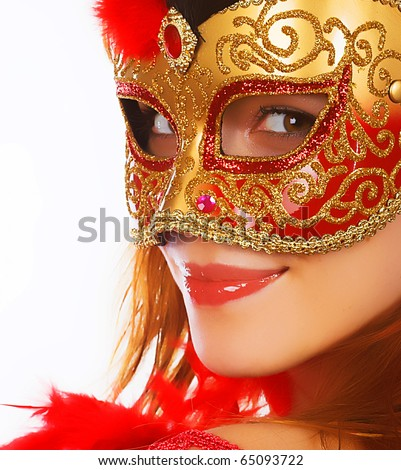 beautiful woman with mask - stock photo