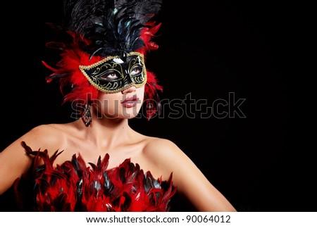 beautiful woman with mask - stock photo