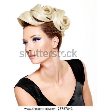 Beautiful woman with modern hairstyle and fashion  make-up of eyes - isolated on white background - stock photo