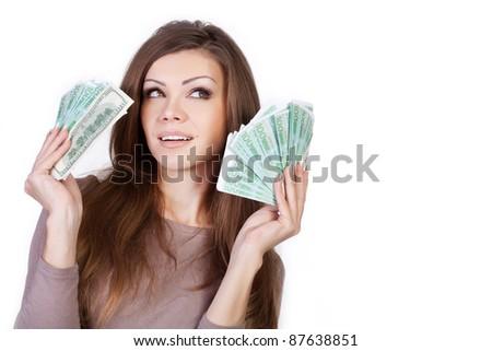 beautiful woman with money - stock photo