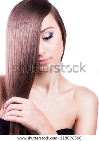 beautiful woman with natural long hair - stock photo
