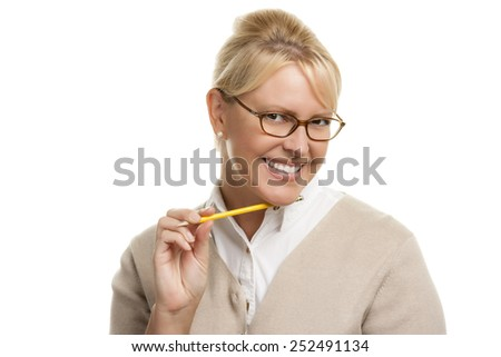 Beautiful Woman with Pencil Isolated On A White Background. - stock photo