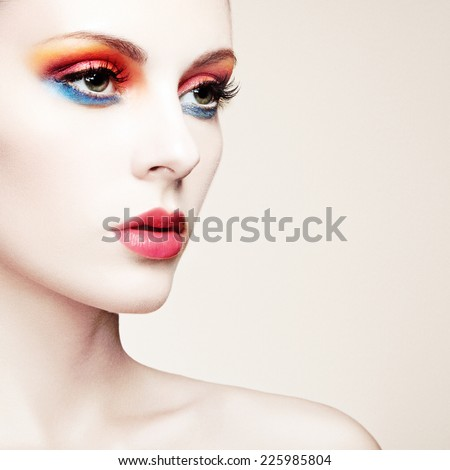 Beautiful woman with perfect makeup. Beauty portrait. Fashion photo - stock photo