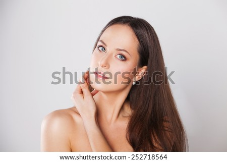beautiful woman with perfect skin and face - stock photo