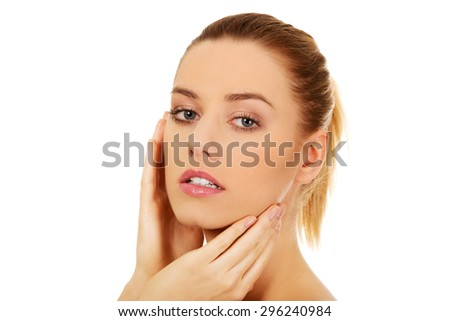 Beautiful woman with perfect skin and face. - stock photo