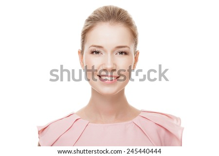 Beautiful woman with perfect skin and face. Isolated. - stock photo