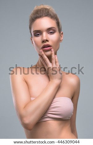 Beautiful Woman With Perfect Skin Beauty Studio Portrait