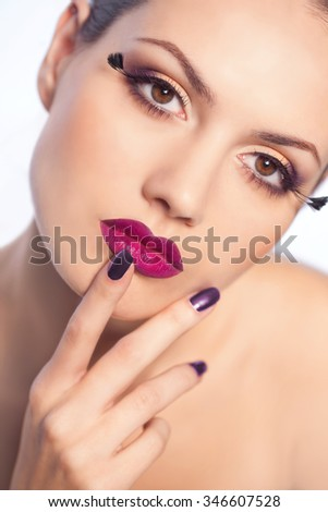 Beautiful woman with perfect skin portrait in studio