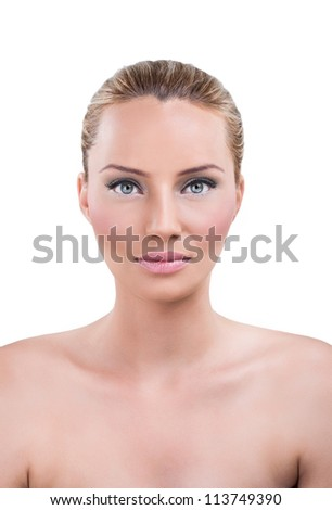 Beautiful woman with perfect tan and clean skin - stock photo