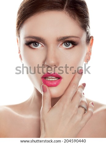 beautiful woman with pink lips & nails
