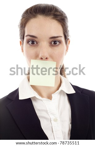 Beautiful woman with post it note on her mouth isolated over white background, Concept:  What Can I Say? Write your message. - stock photo