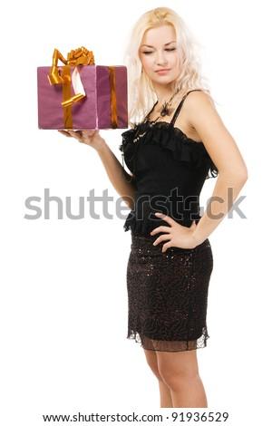 Beautiful woman with present box, white background - stock photo