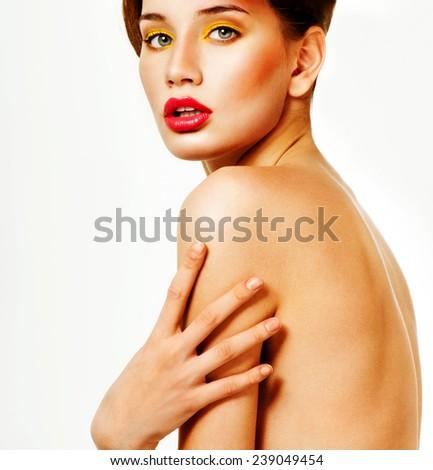 Beautiful woman with professional makeup. Perfect skin. - stock photo