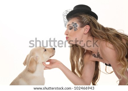beautiful woman with puppy labrador
