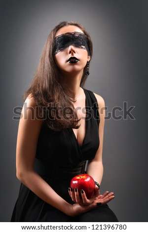 beautiful woman with red apple - stock photo