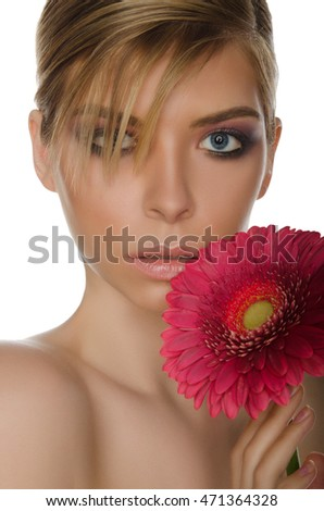 beautiful woman with red chrysanthemum isolated on white