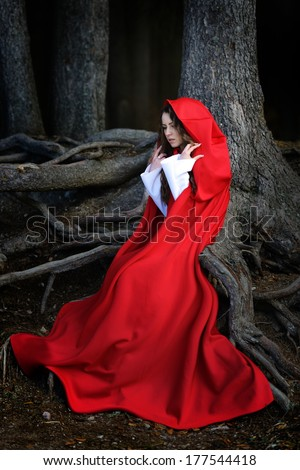 beautiful woman with red cloak posing in the woods - stock photo