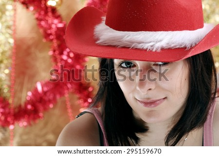 Beautiful woman with red hat. - stock photo