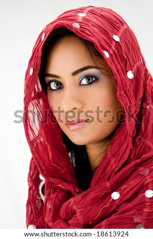 Beautiful woman with red head scarf, isolated