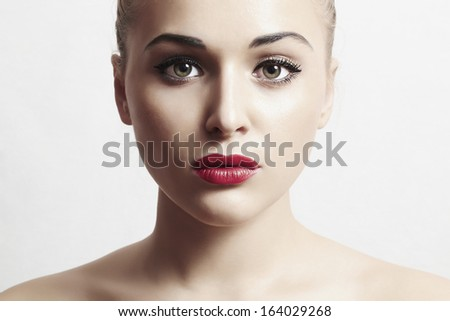 beautiful woman with red lips.portrait.make-up - stock photo