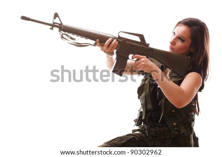 Beautiful woman with rifle plastic Military Army girl Holding Gun white isolated background