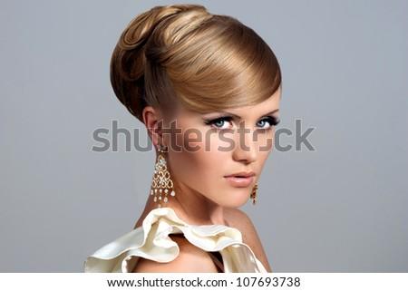 Beautiful woman with rose. Fashion photo - stock photo
