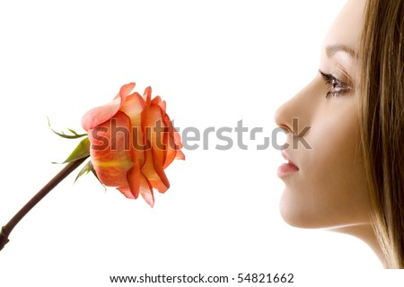 beautiful woman with rose sideview isolated - stock photo